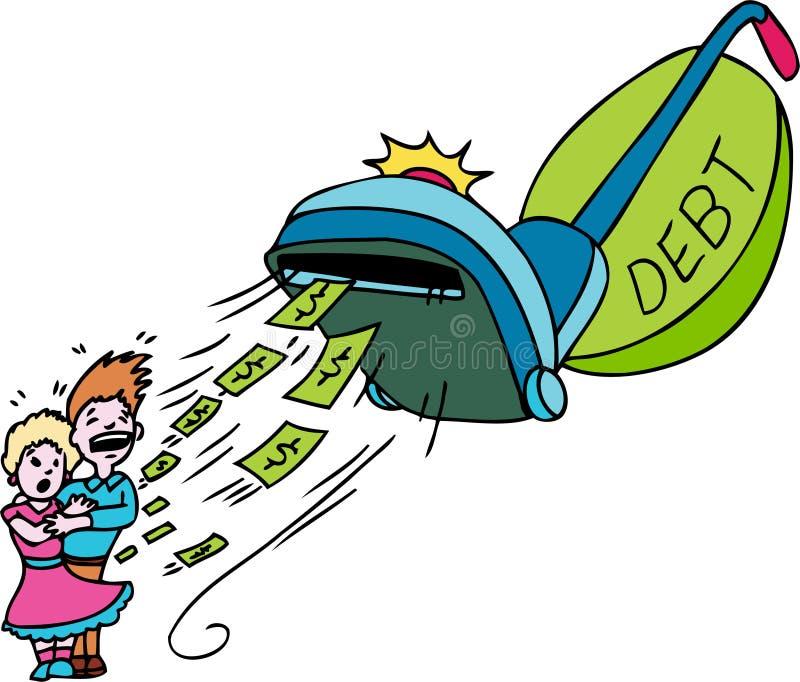 вакуум задолженности иллюстрация вектора