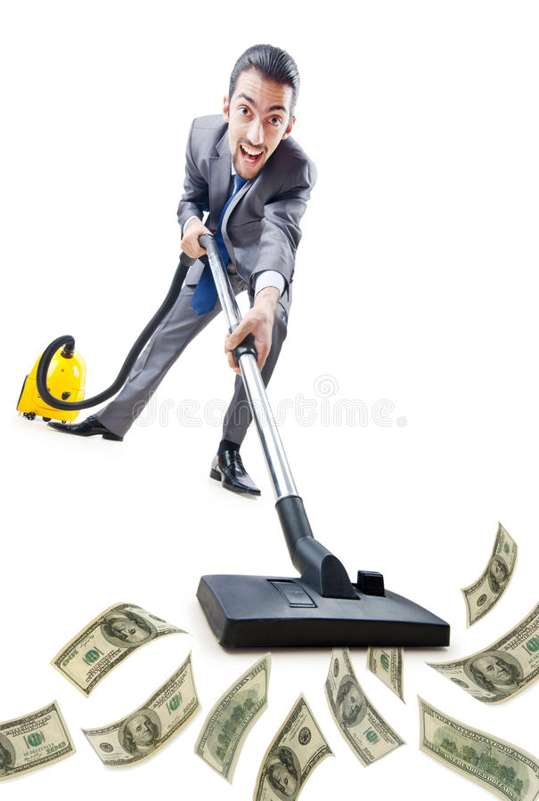 вакуум уборщика бизнесмена стоковое фото