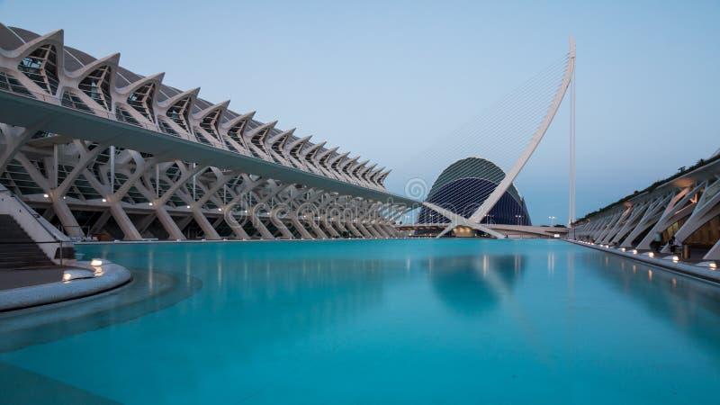 Валенсия, Испания - 28-ое апреля 2019: Город ciencias las Ciudad de las artes y искусств и наук, конструированный Calatrava стоковое изображение
