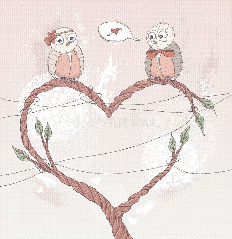 Валентайн влюбленности s дня карточки птицы милое иллюстрация штока