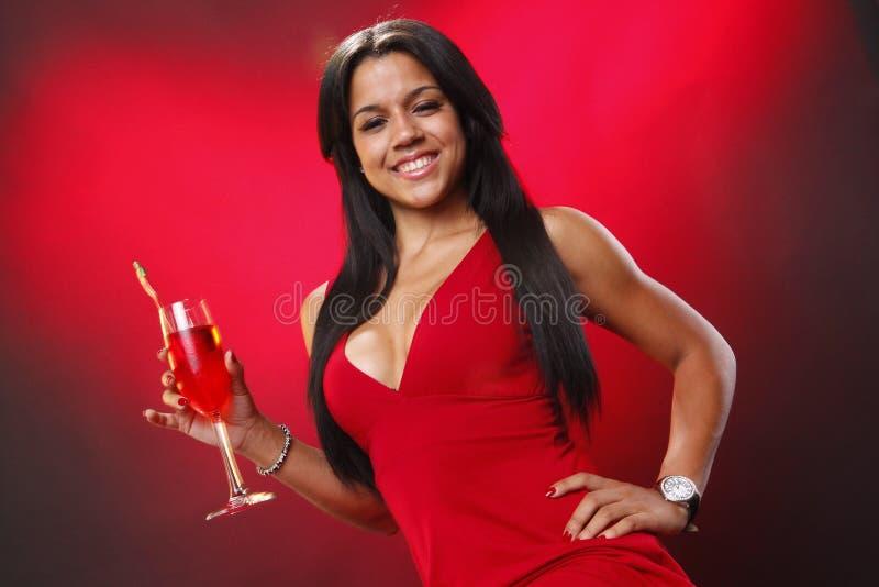 Валентайн девушки s коктеила стоковое фото rf
