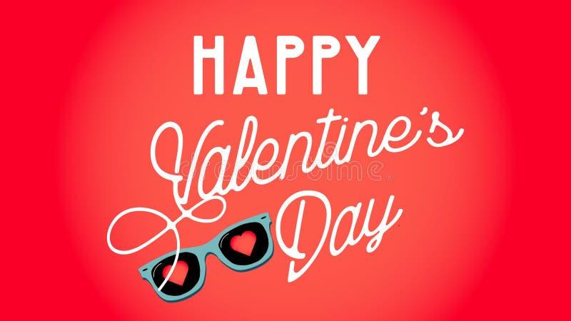 Валентайн дня счастливое s Солнечные очки с сердцами человек влюбленности поцелуя принципиальной схемы к женщине также вектор илл иллюстрация штока