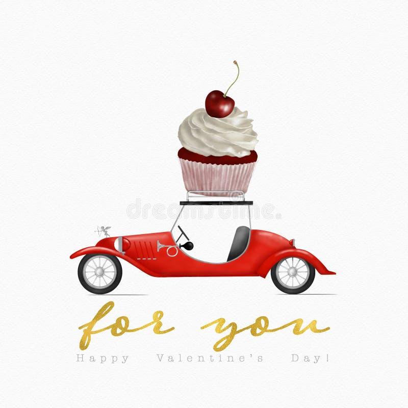 Валентайн дня s Поздравительная открытка с пирожным нося ретро автомобиля мультфильма бесплатная иллюстрация
