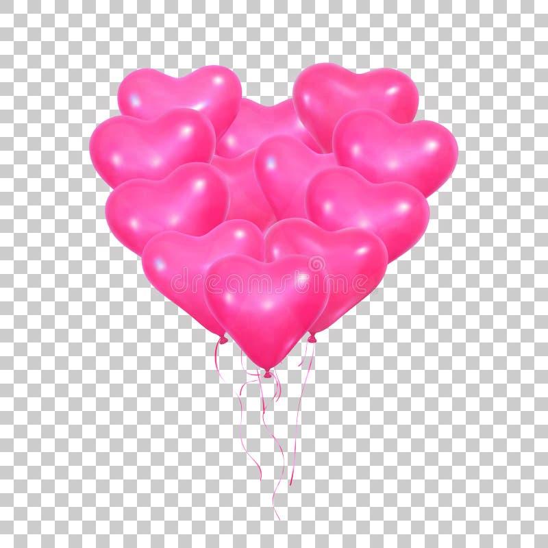 Валентайн дня s Установите реалистических розовых воздушных шаров гелия формы и лент сердца Воздушные шары Валентайн иллюстрация штока