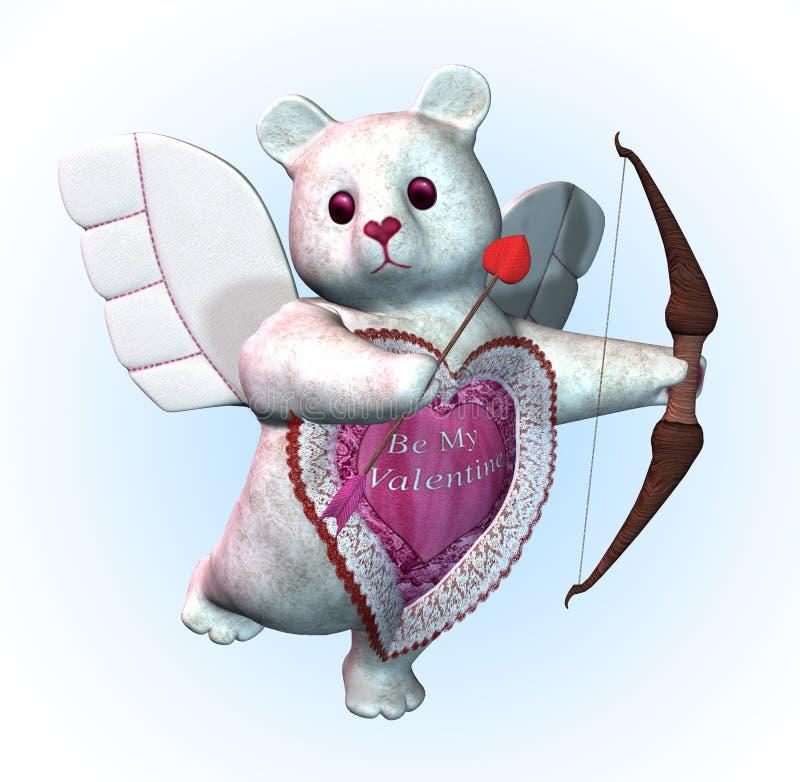 Валентайн купидона медведя иллюстрация штока