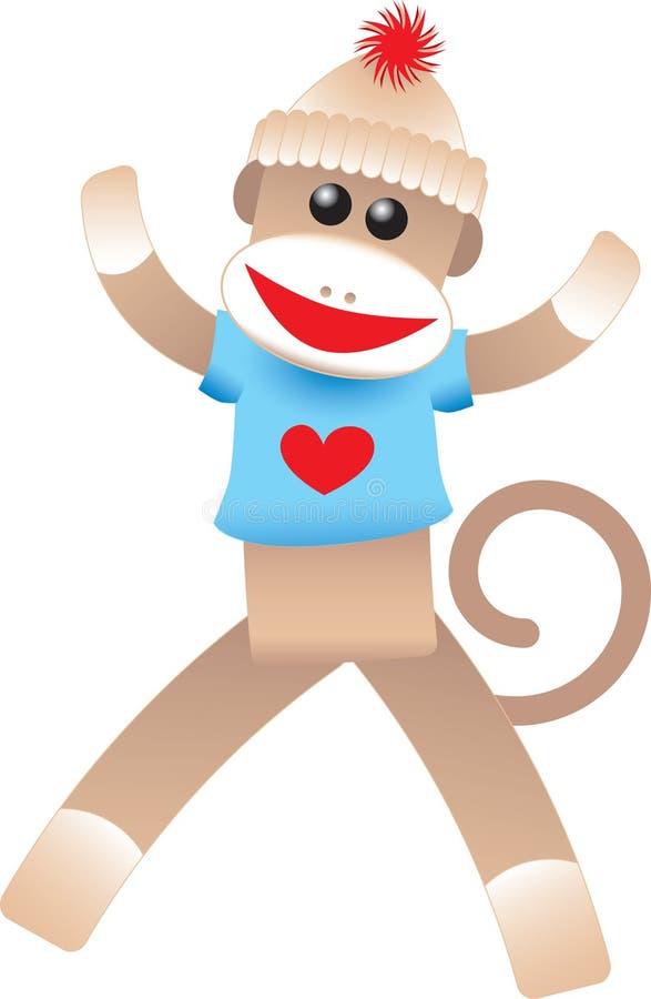 Валентайн носка обезьяны бесплатная иллюстрация