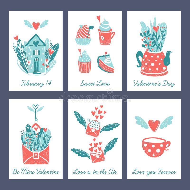 Валентайн открытки s дня Розовые и голубые цвета Дом феи фантазии с цветками и сердцем летая, помадками, чайником иллюстрация вектора