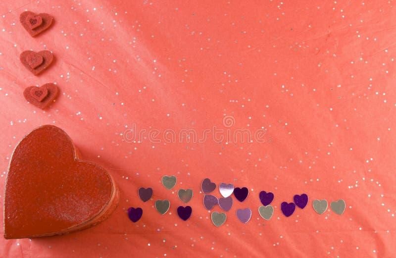 Валентайн пинка сердец рамки красное серебряное стоковые изображения rf