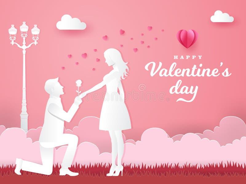 Валентайн приветствию s дня карточки Молодой человек вставая на колени к его девушке иллюстрация вектора