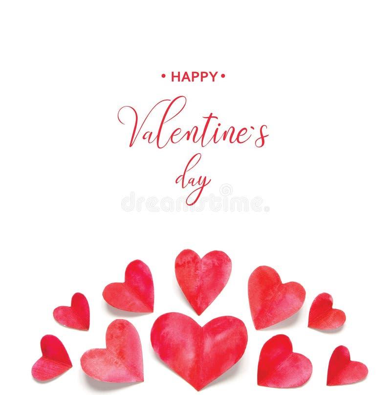 Валентайн приветствию s дня карточки Сердца акварели стоковое фото