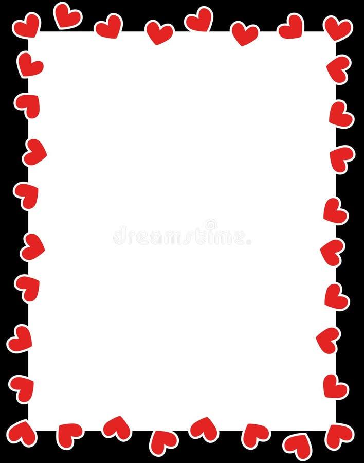 Валентайн сердец красное s дня граници иллюстрация вектора