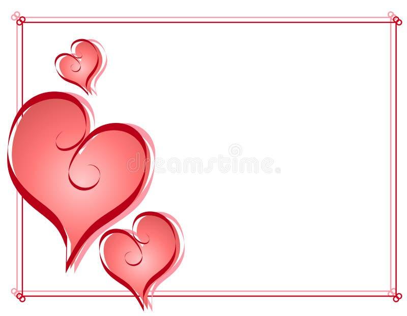 Валентайн сердец рамки каллиграфии граници иллюстрация вектора