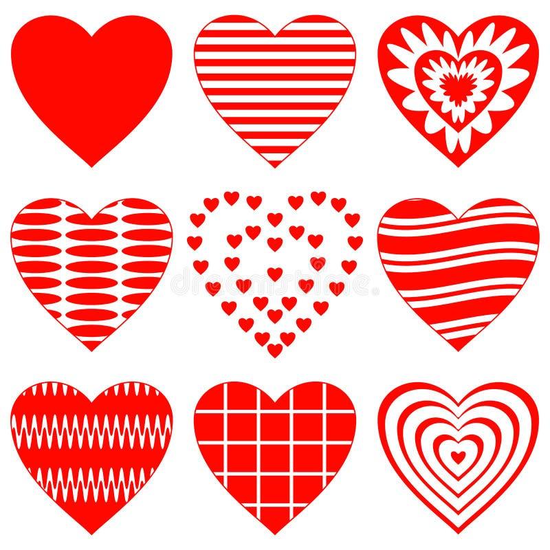 Валентайн сердца установленное иллюстрация штока