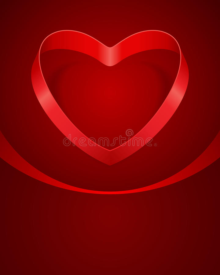 Валентайн шелка тесемки сердца дня красное иллюстрация вектора