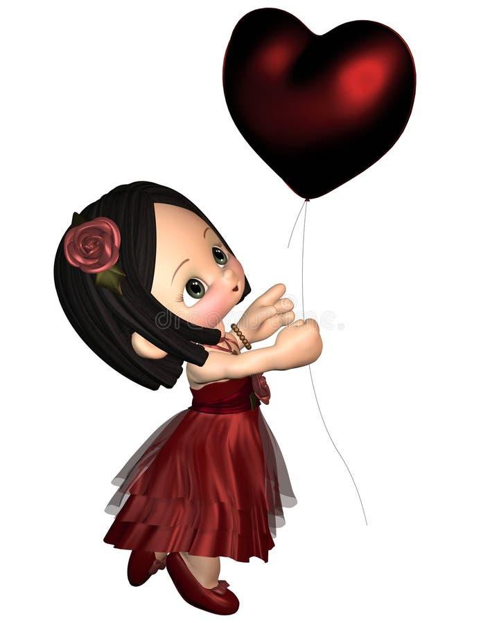 Валентайн toon девушки воздушного шара милое иллюстрация вектора