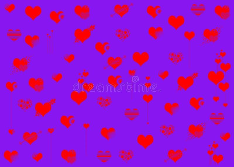 Валентинки Сердца Красный Справочная информация лилово различно иллюстрация вектора
