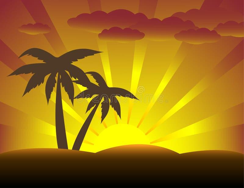 валы захода солнца ладони иллюстрация вектора