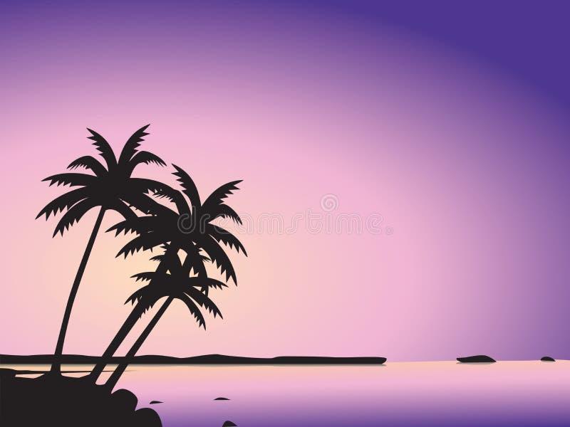 валы моря ладони тропические иллюстрация штока