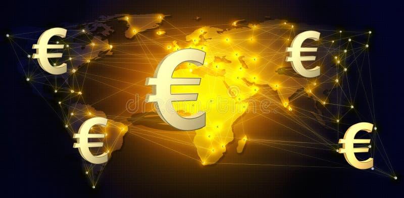 Валюта евро как глобальные середины оплаты иллюстрация 3d иллюстрация вектора