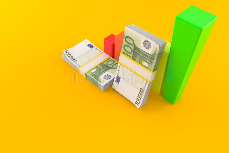 Валюта евро с диаграммой иллюстрация штока