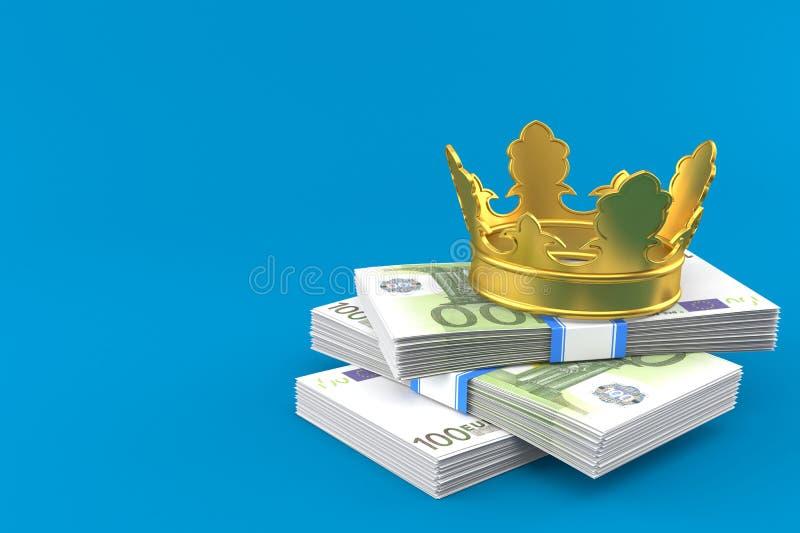 Валюта евро с кроной иллюстрация штока