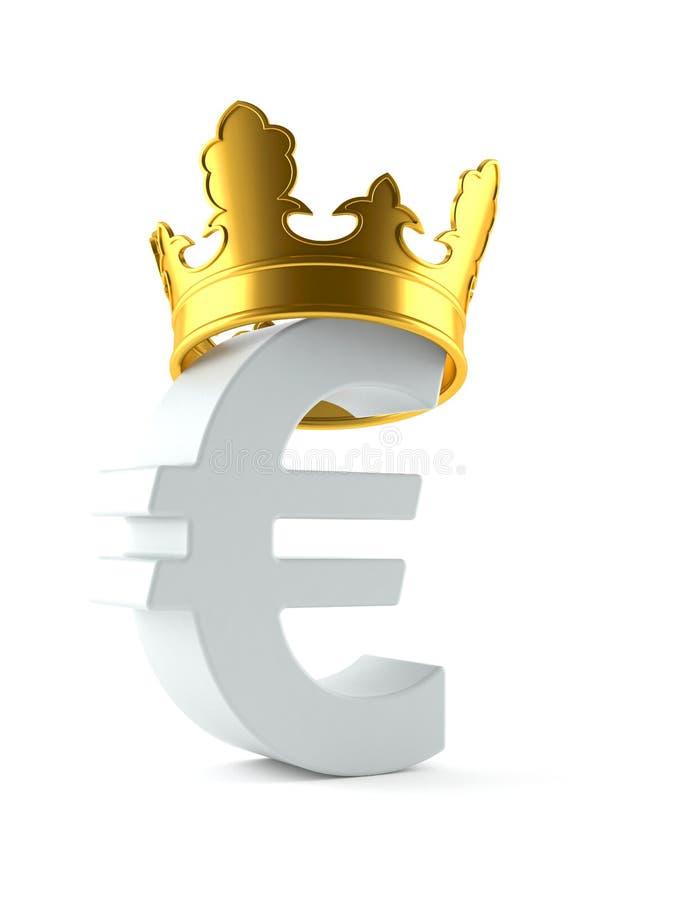 Валюта евро с кроной иллюстрация вектора