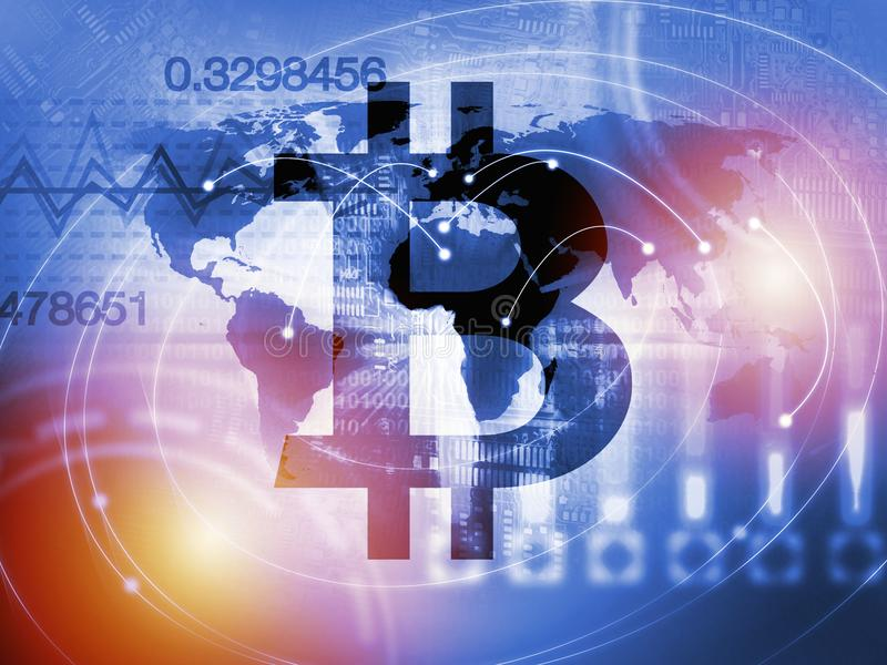 Валюта знака Bitcoin цифровая, футуристические цифровые деньги, концепция технологии blockchain стоковая фотография rf