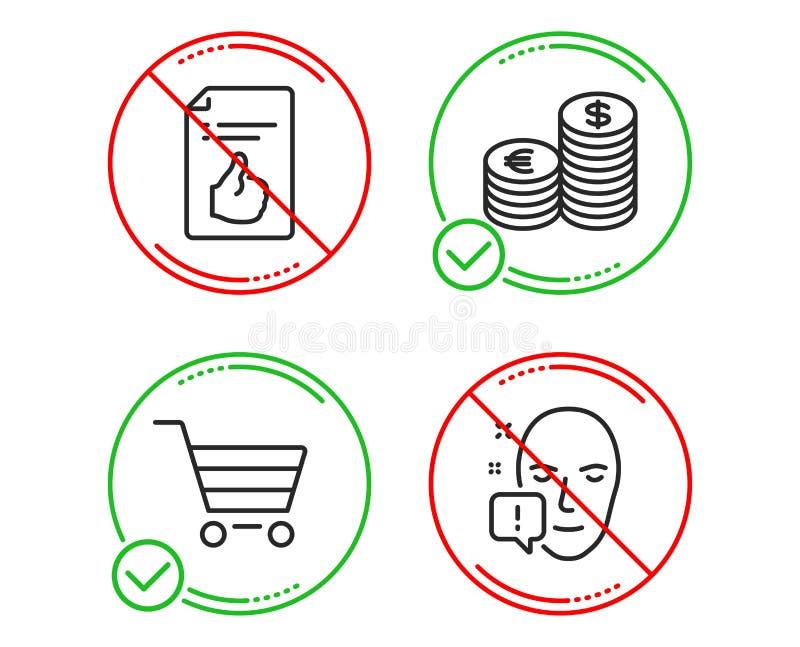 Валюта, одобренный документ и продажа рынка набор значков Знак внимания стороны r иллюстрация штока