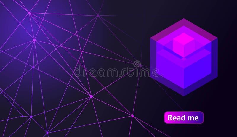 Валюта равновеликого голографического геометрического значка секретная, красочная абстрактная предпосылка Большая концепция на ша иллюстрация вектора