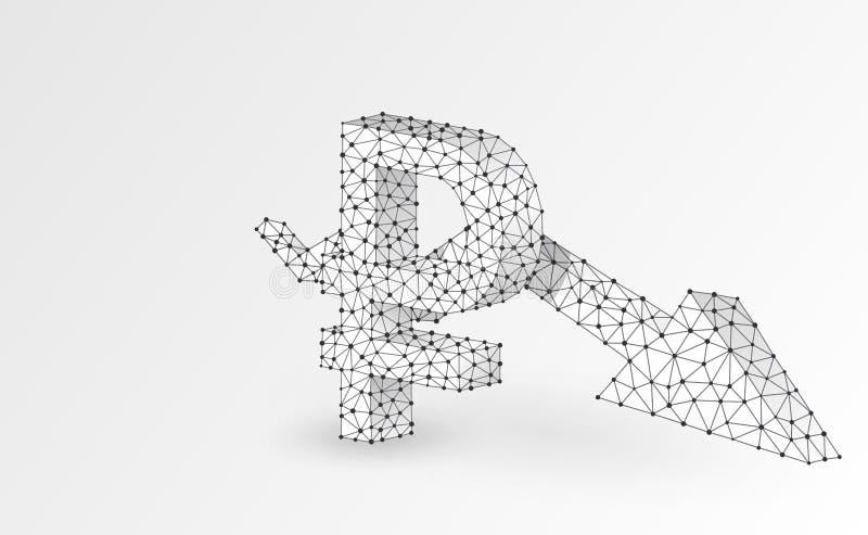 Валюта русского рубля, стрелка Downtrend, цифровая иллюстрация origami 3d Полигональный кризис дела вектора, авария, данные иллюстрация штока
