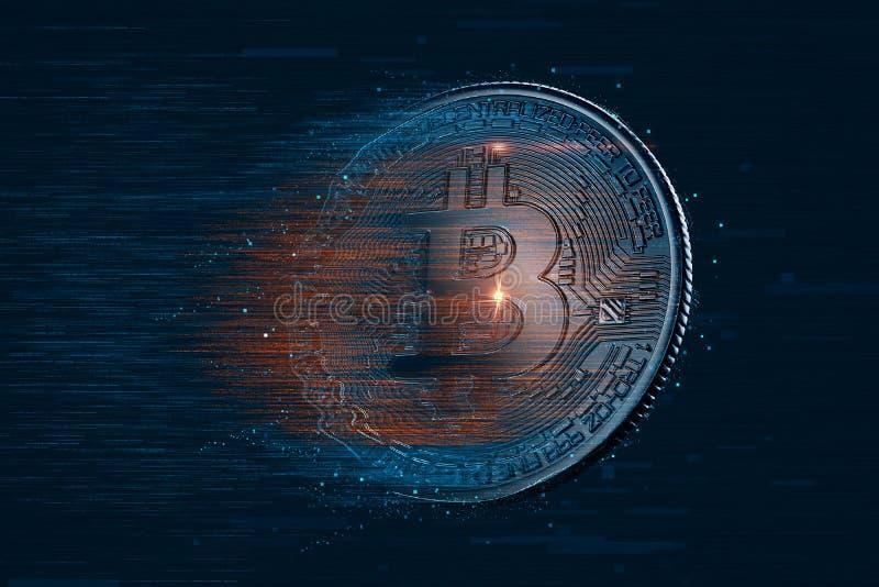 Валюта Bitcoin цифровая иллюстрация 3d Содержит путь клиппирования стоковые фотографии rf