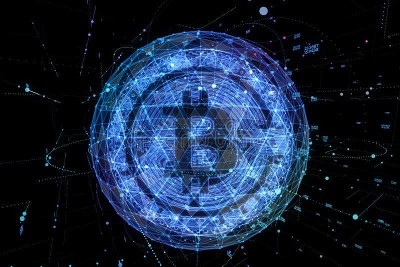 Валюта Bitcoin цифровые и hologram глобуса мира, футуристические цифровые деньги и концепция сети технологии всемирная бесплатная иллюстрация