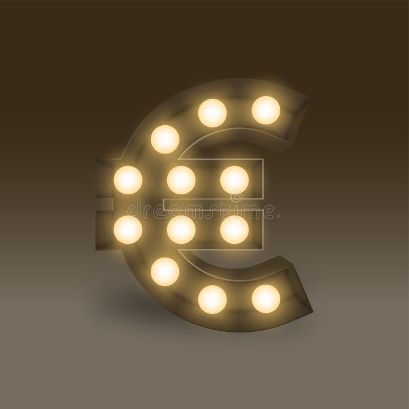 Валюты коробки электрической лампочки символа значок знака евро EUR раскаленной добела установленной европейский, иллюстрация рет иллюстрация штока