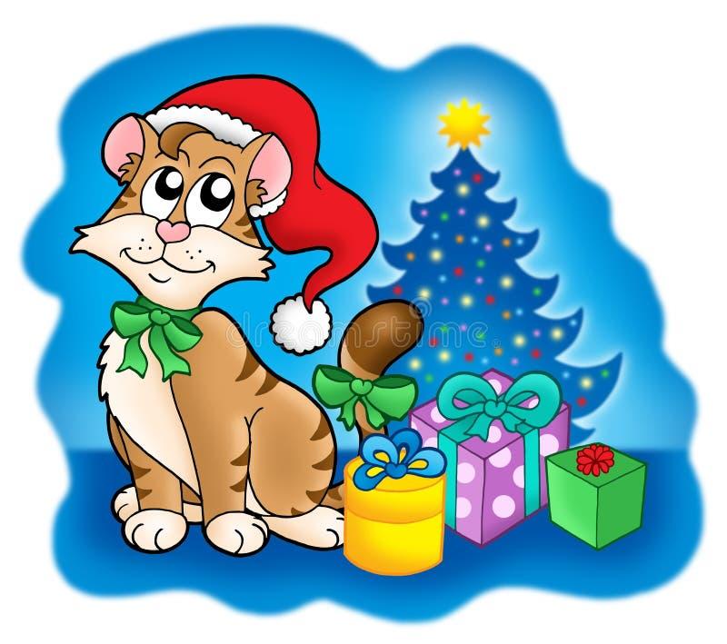 вал подарков рождества кота иллюстрация вектора