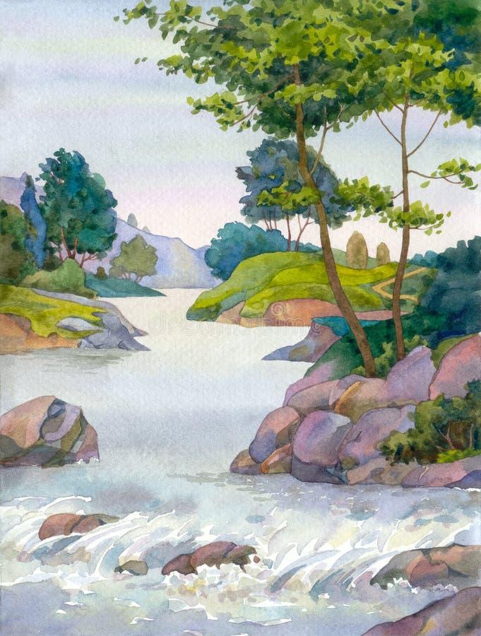 вал потока горы иллюстрация штока