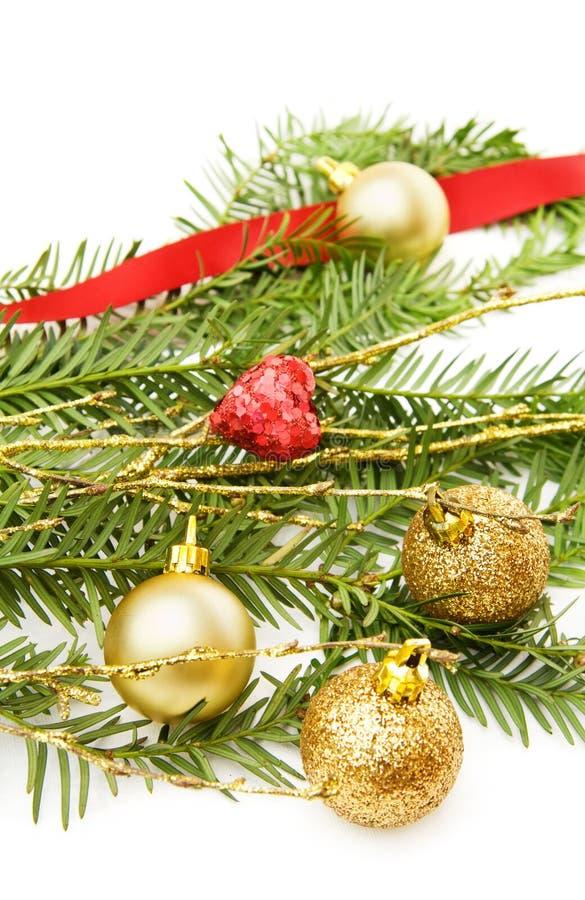 вал сосенки украшений рождества ветви стоковые фото