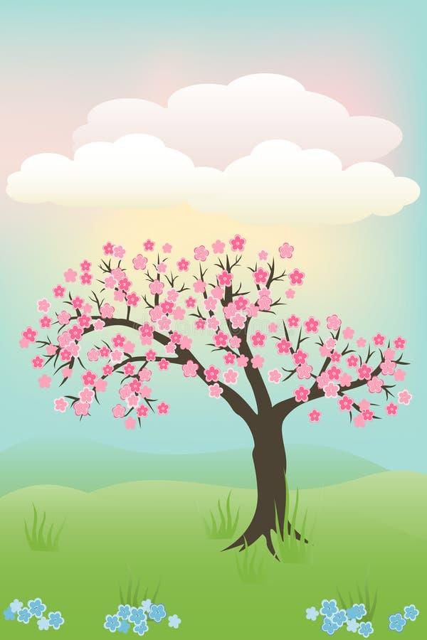 вал японца вишни иллюстрация вектора
