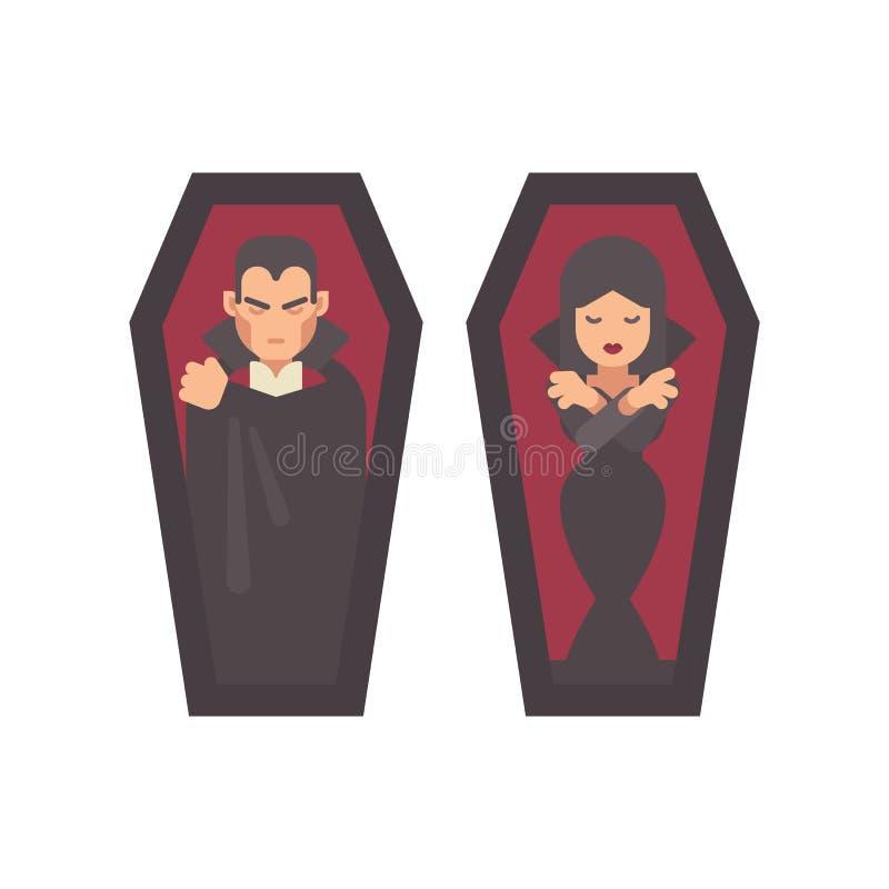 2 вампира спать в иллюстрации гробов плоской иллюстрация штока