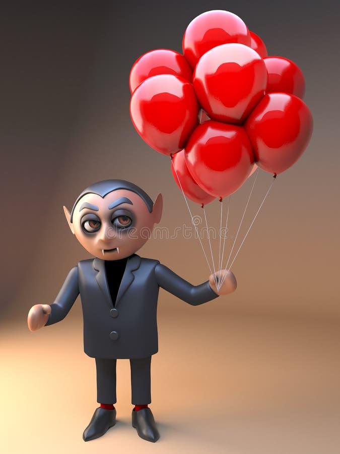 Вампир Дракула мультфильма празднует с воздушными шарами партии крови красными, иллюстрацией 3d иллюстрация вектора
