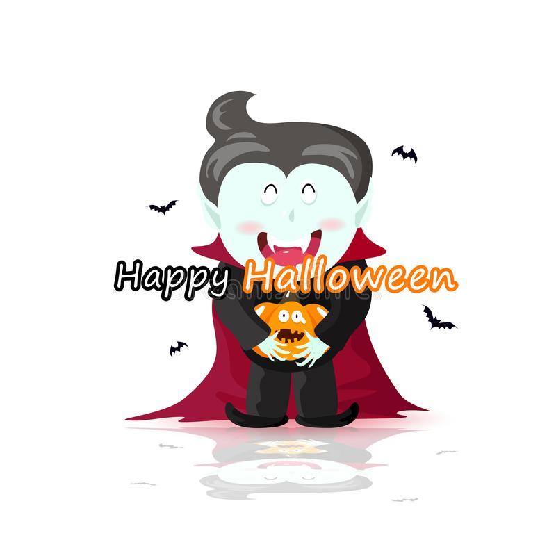 Вампир с тыквой, счастливым днем хеллоуина, милым плакатом мультфильма и поздравительной открыткой, иллюстрацией вектора иллюстрация вектора