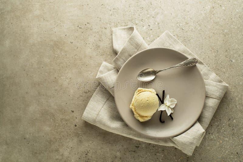 Ванильное мороженое подается стоковое фото