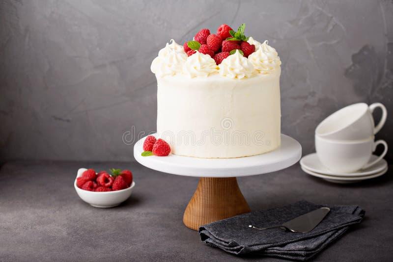 Ванильный торт поленики с белый замораживать стоковые фотографии rf
