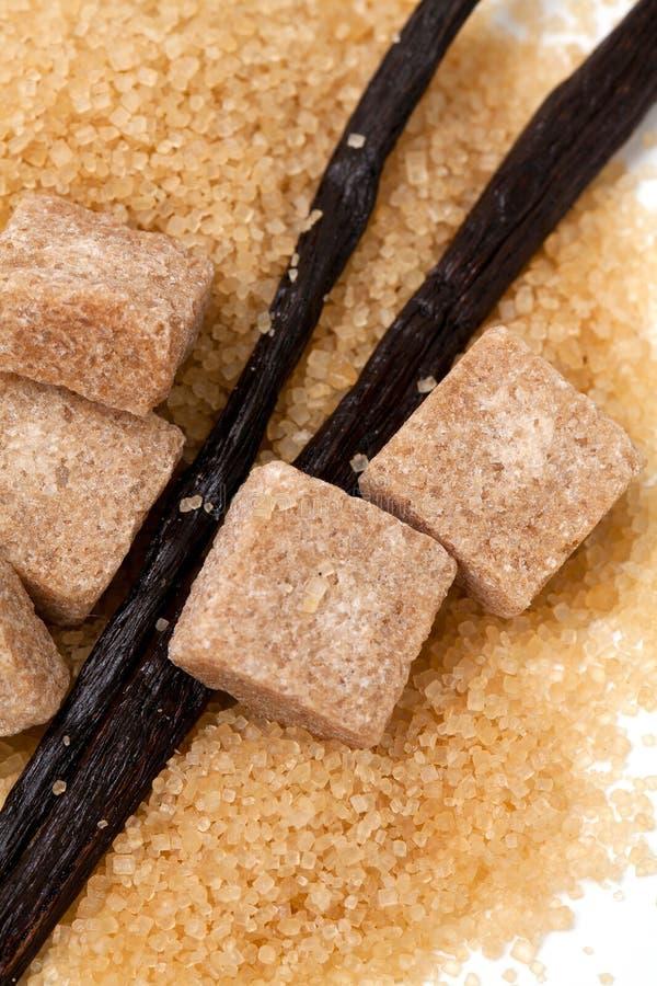 Ванильные фасоли и коричневый ванильный сахар стоковое изображение
