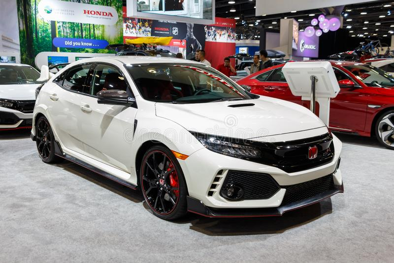 Ванкувер, Канада - март 2019: Тип-R Honda Civic, принятый на автосалон 2019 Ванкувера стоковое фото rf