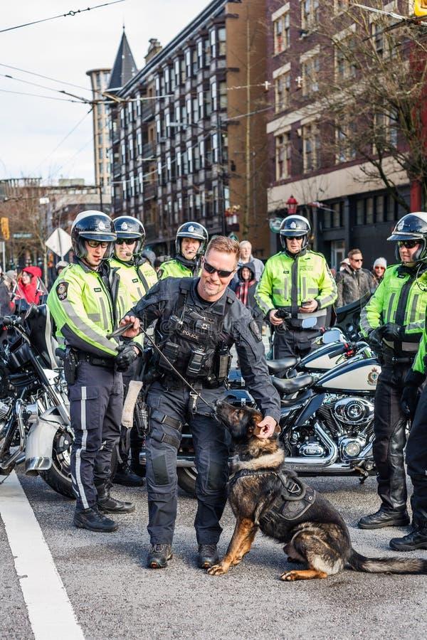 ВАНКУВЕР, КАНАДА - 18-ое февраля 2018: Собака Управления полиции Ванкувера на китайском параде Нового Года стоковое изображение rf