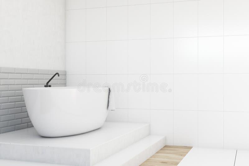 Ванная комната, белый и серый, взгляд со стороны иллюстрация штока