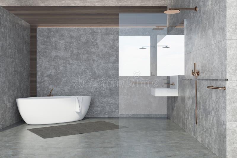 Ванная комната внутренняя, белый ушат бетонной стены иллюстрация штока