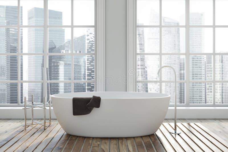 Ванная комната внутренняя, белый ушат просторной квартиры иллюстрация штока