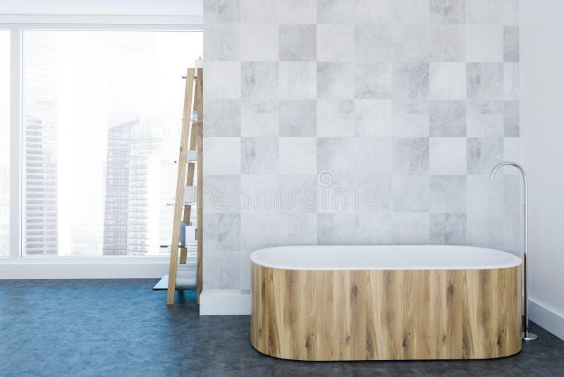 Ванная комната внутренняя, деревянный ушат просторной квартиры белая роскошная иллюстрация вектора