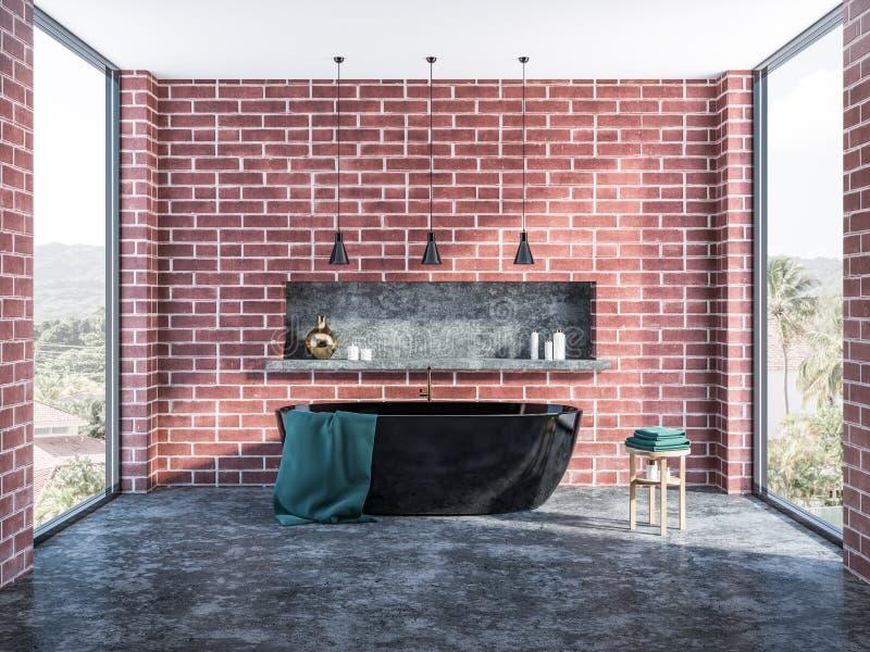 Ванная комната внутренняя, черный ушат кирпича бесплатная иллюстрация